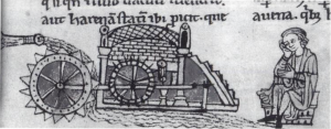 Medieval mill with overshot wheel